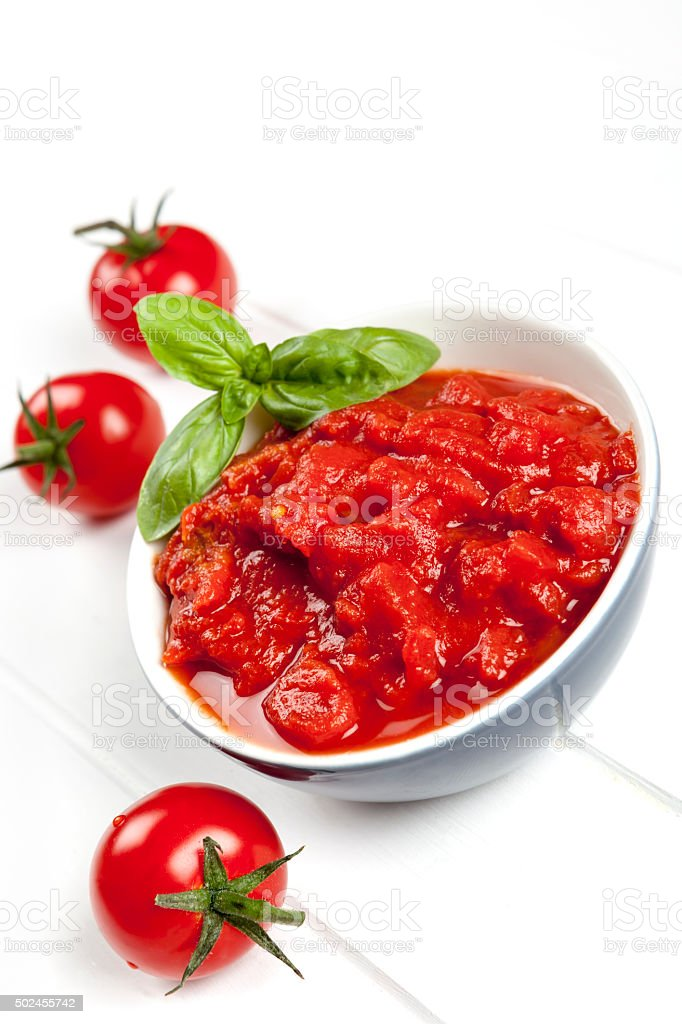 Tomato Puree with Basil stock photo