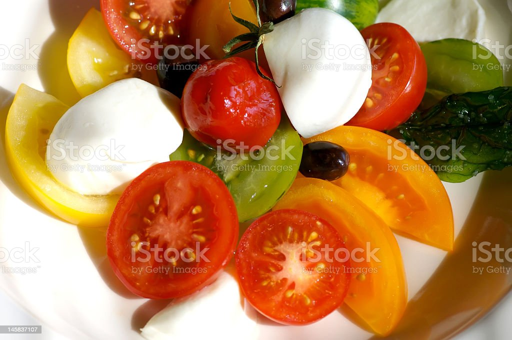 Tomato salad close up stock photo