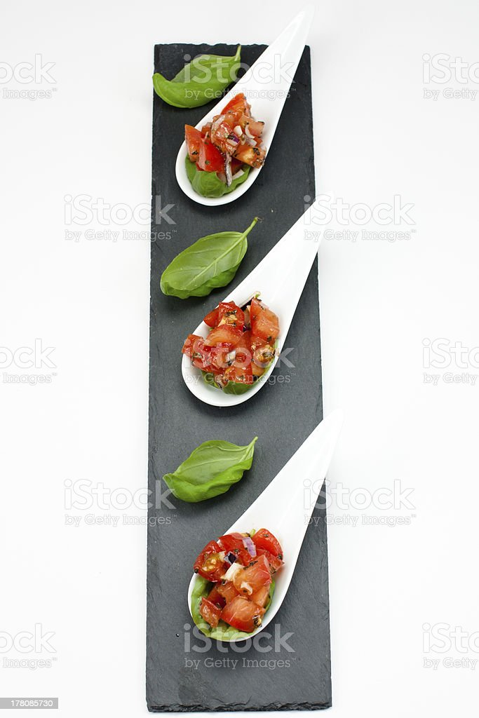 Tomato salad with basil royalty-free stock photo