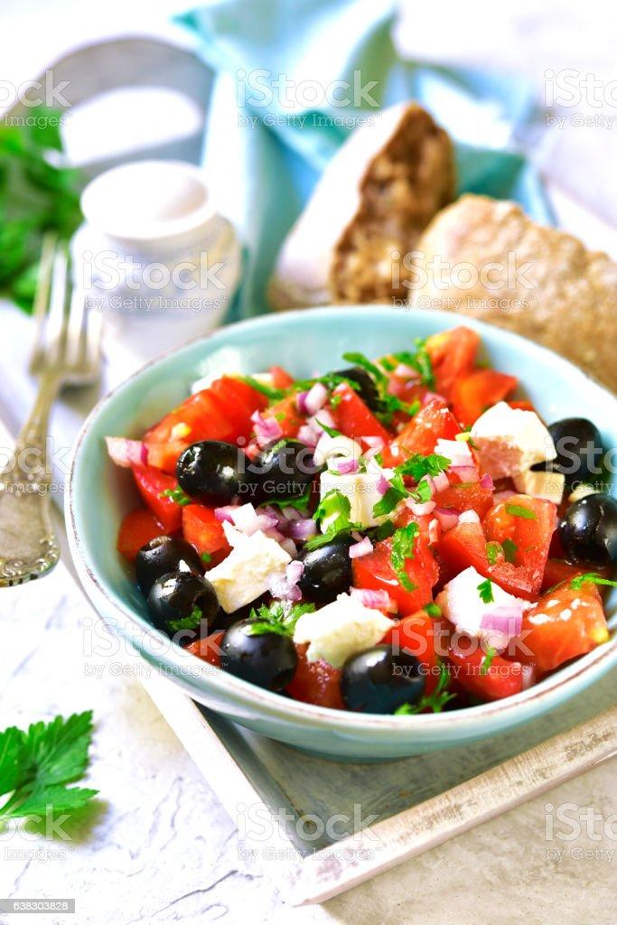 Tomato salad with feta.Top view. stock photo