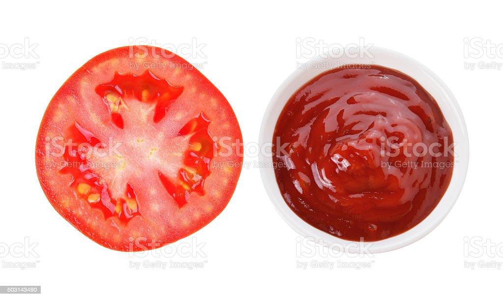 tomato sauce and tomato slice isolated on white background stock photo