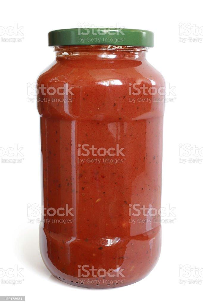 Tomato sauce in glass jar stock photo