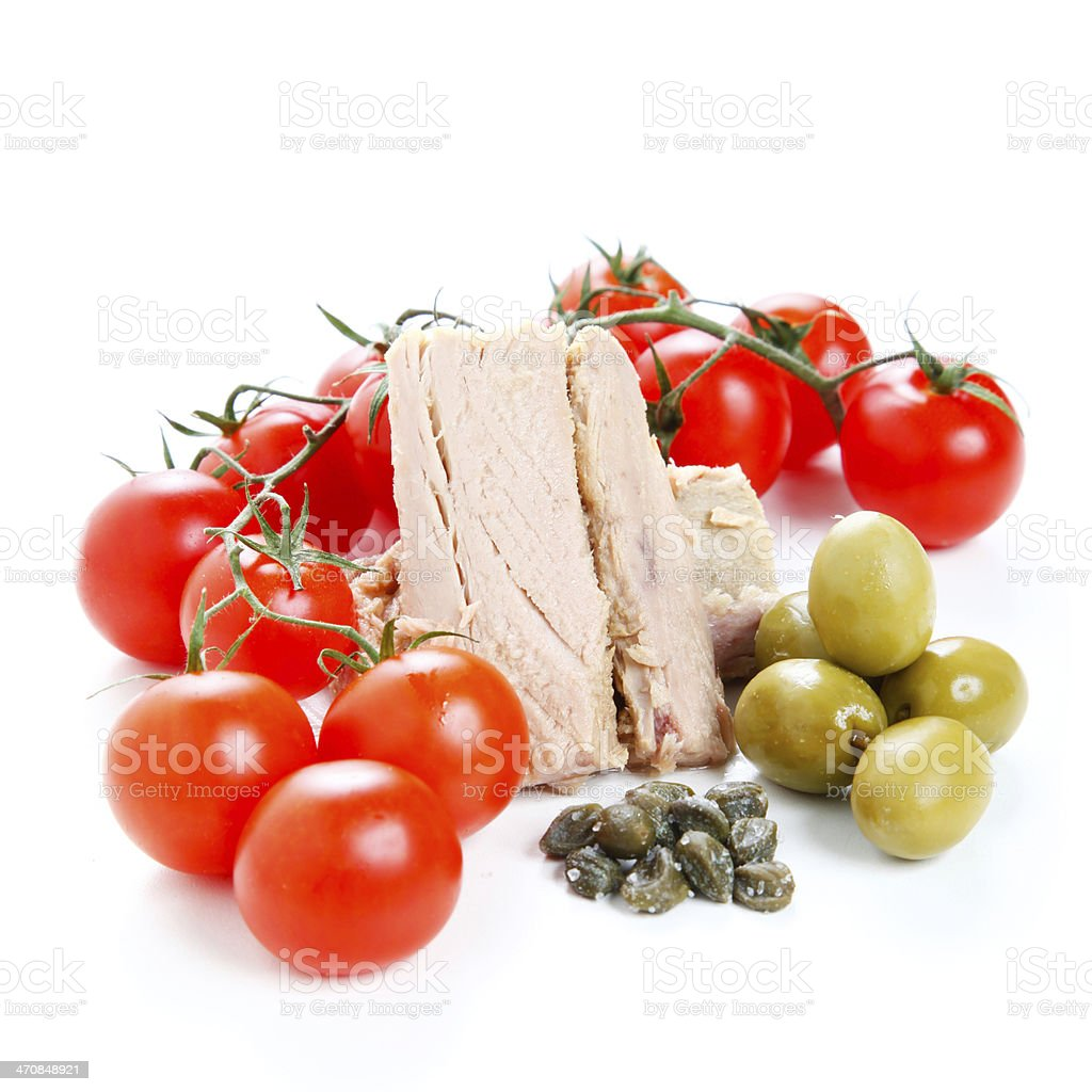 Tomato sauce ingredients, olives and tuna stock photo