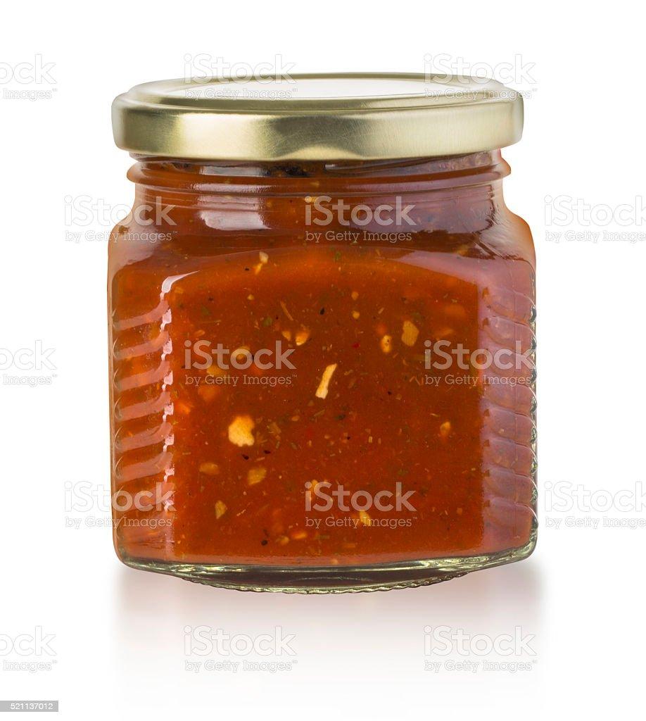 Tomato sauce jar on white stock photo