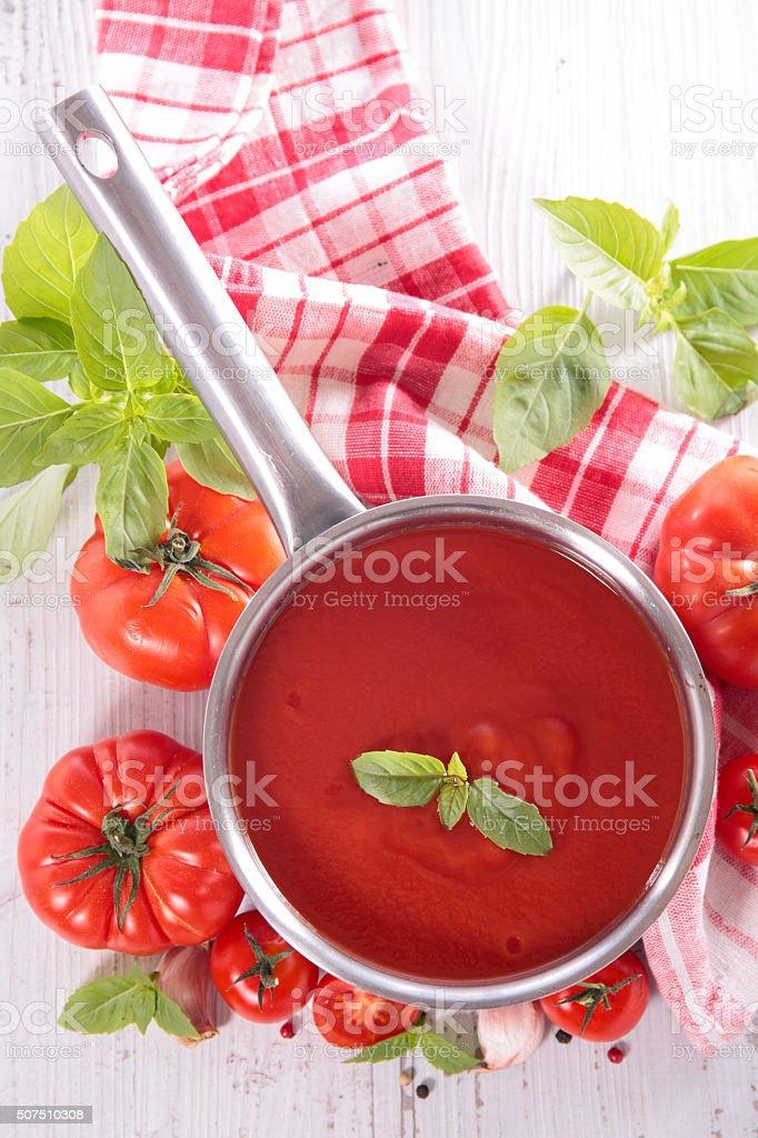 tomato sauce with basil stock photo