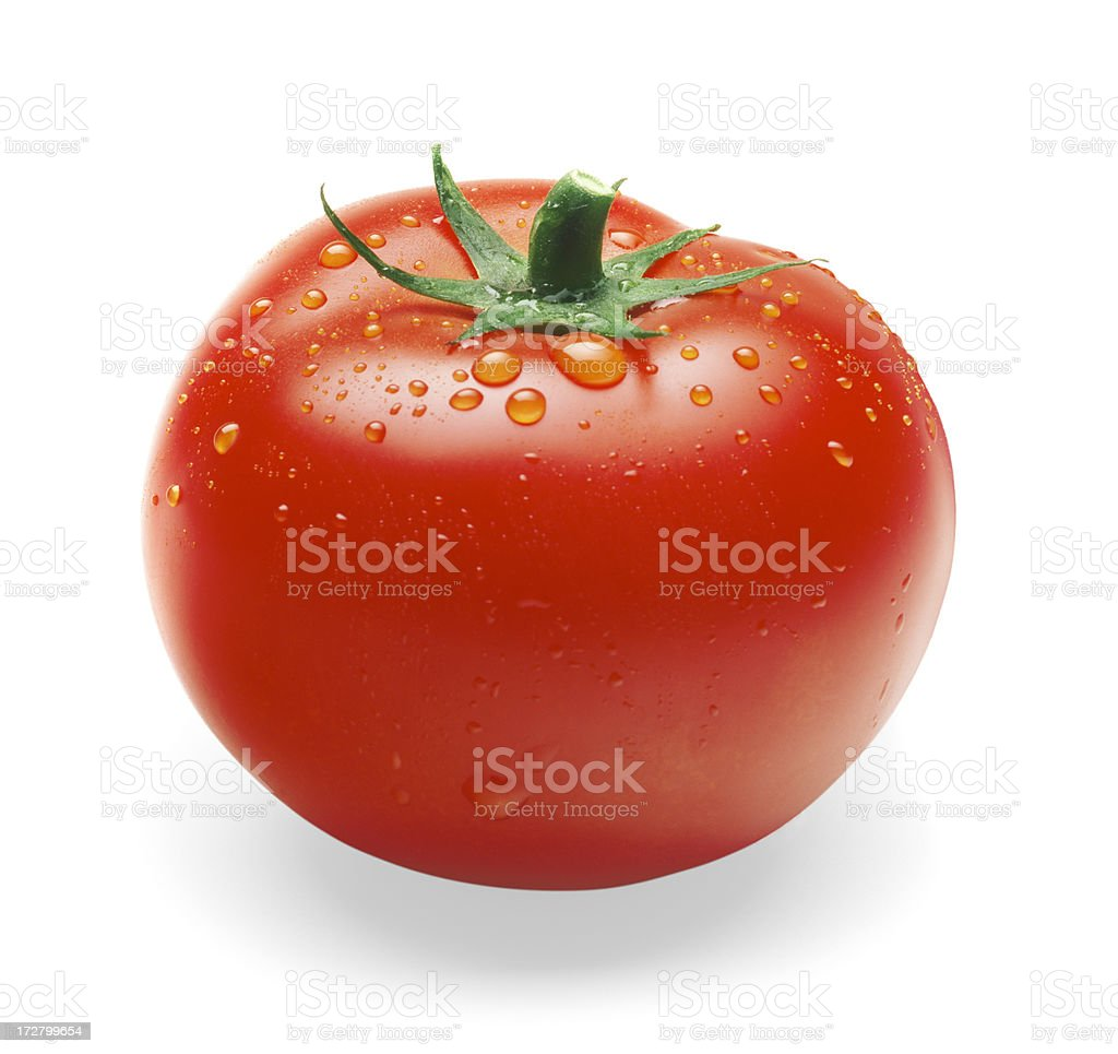 Tomato single with drops stock photo