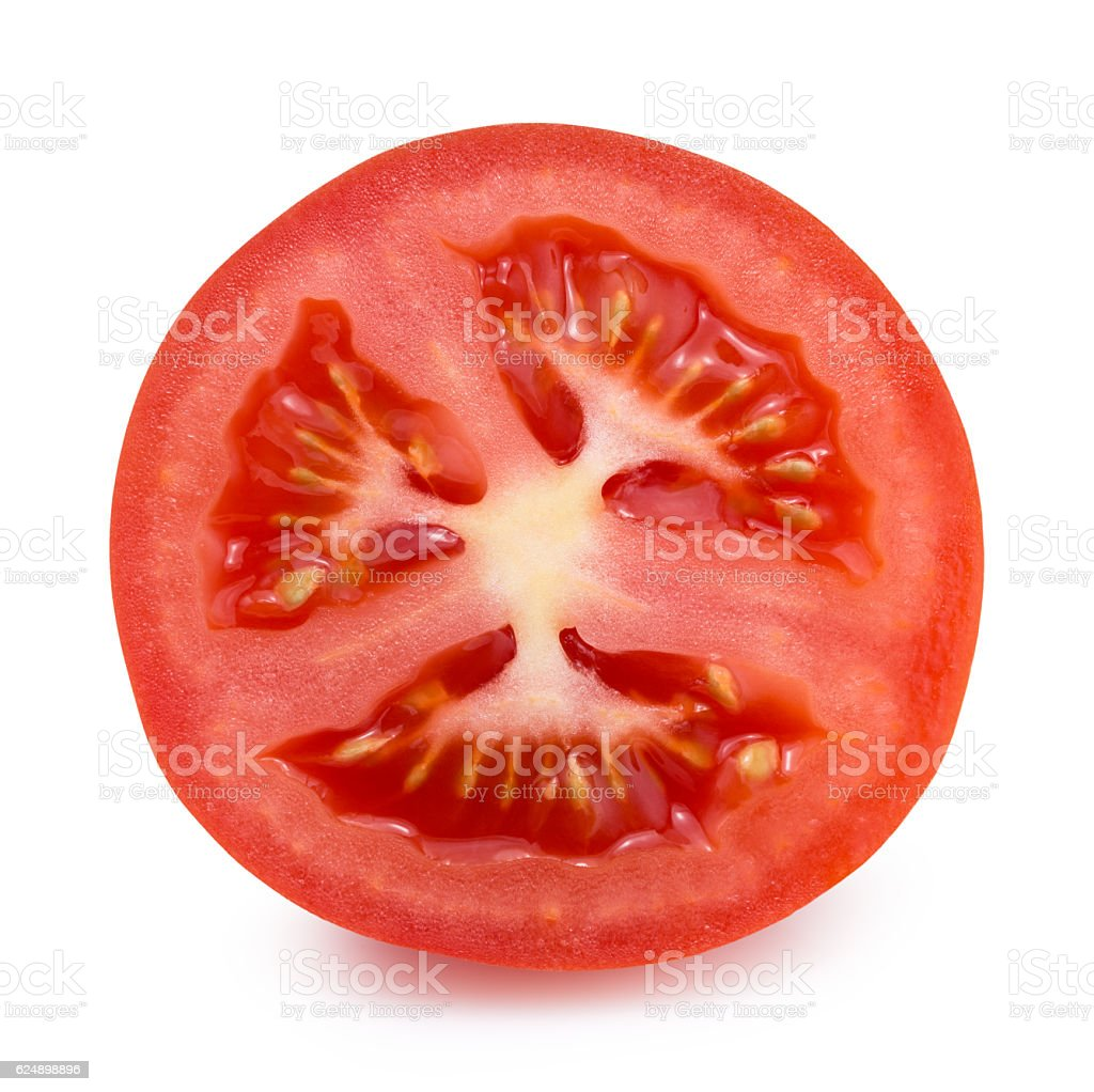 tomato slice isolated on the white background stock photo