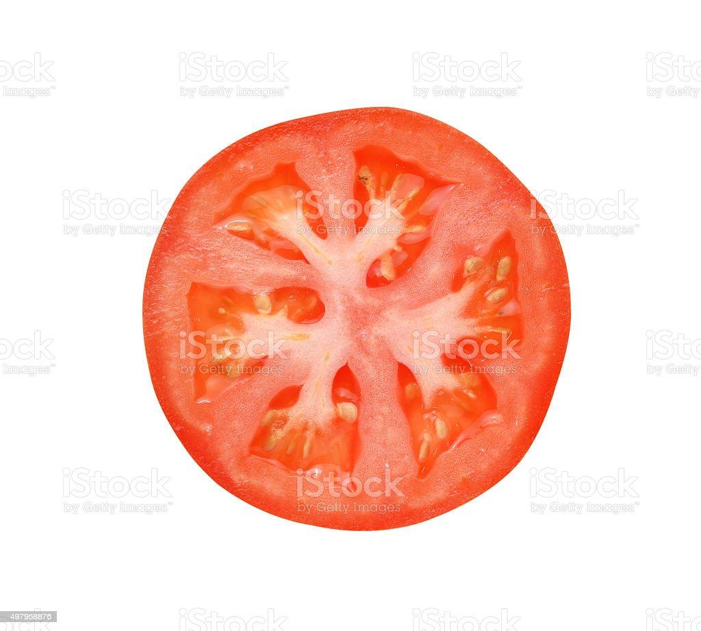 Tomato slice isolated on white background stock photo