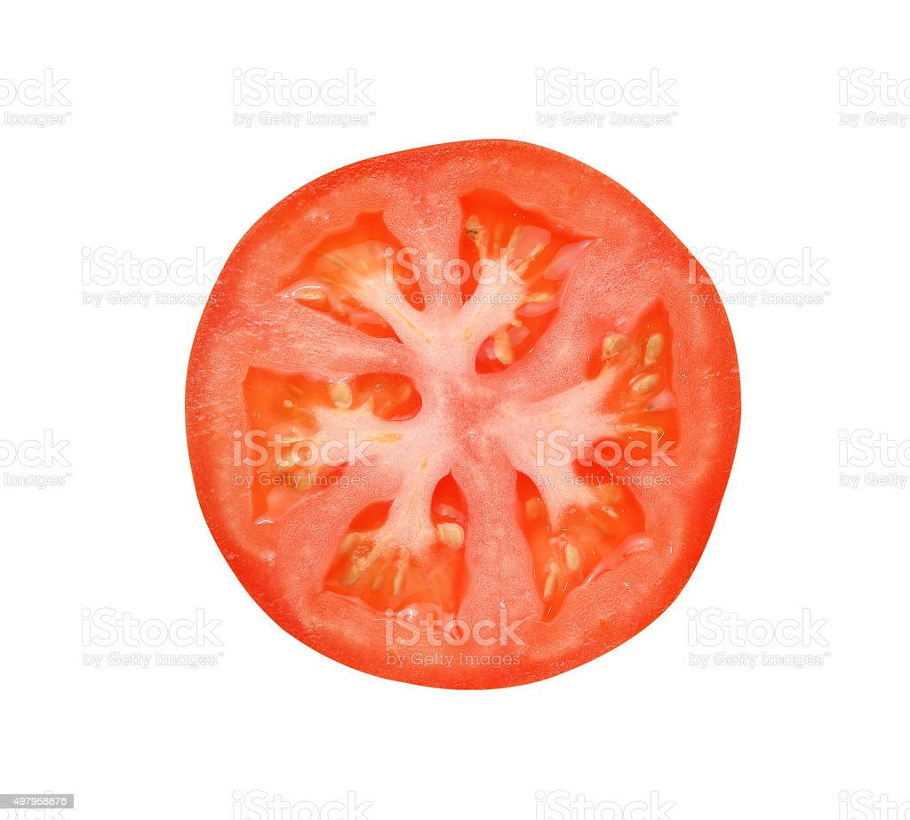 Tomato slice isolated on white background stock photo