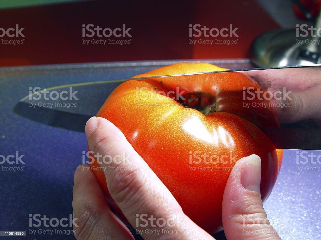 Tomato Slicing royalty-free stock photo