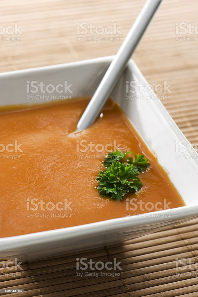 tomato soup in square bowl. royalty-free stock photo