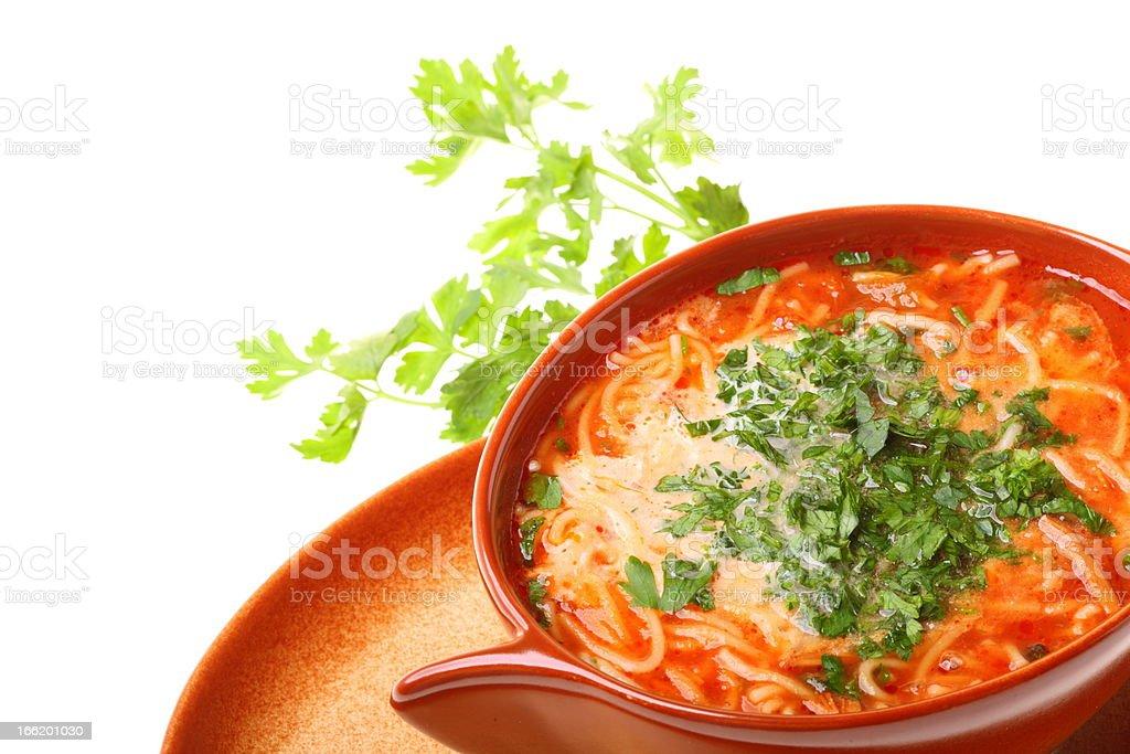 Tomato soup, parsley isolated white background royalty-free stock photo
