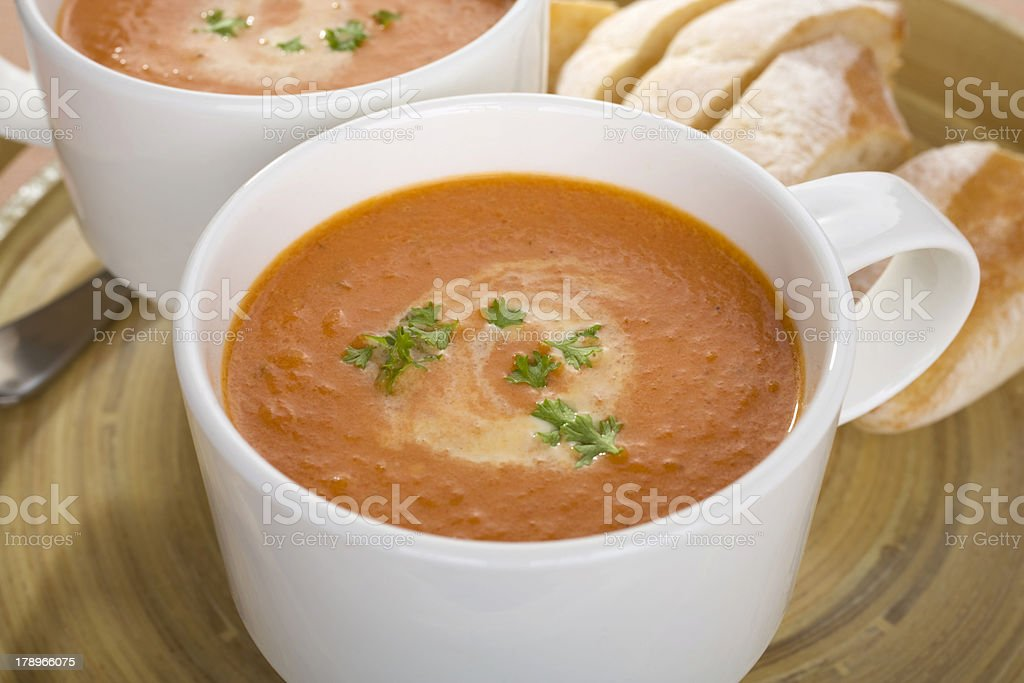 Tomato Soup Two Mugs Cups Tray royalty-free stock photo