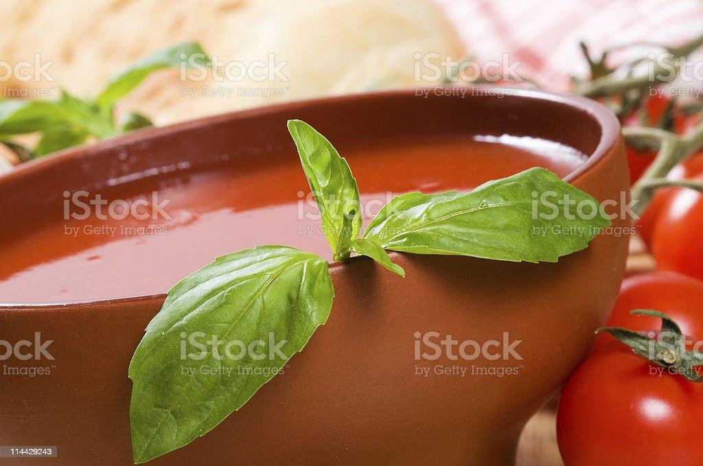 tomato soup with basil stock photo