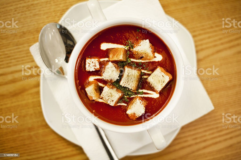Tomato soup with croutons royalty-free stock photo