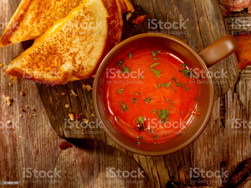 Tomato Soup with Grilled Cheese Sandwich stock photo
