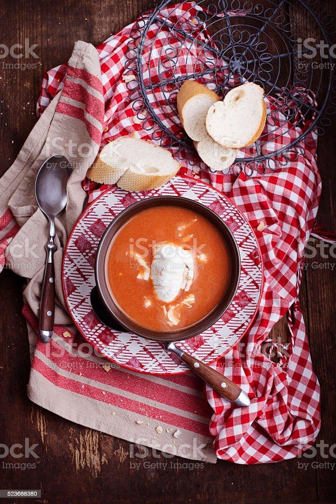 Tomato soup with with mozzarella stock photo