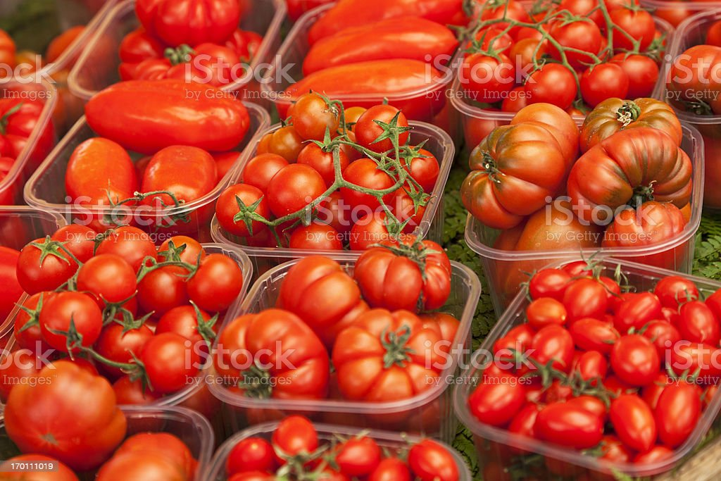 Tomato varieties - fruit market in Rome Italy royalty-free stock photo