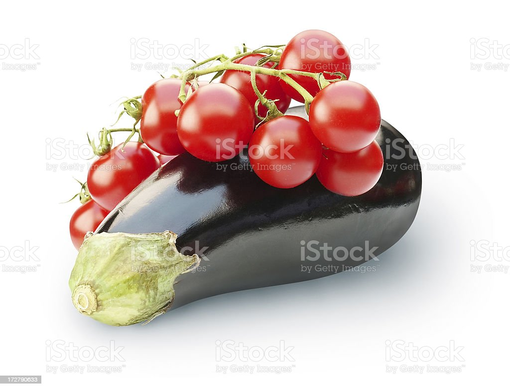 Tomato with Eggplant royalty-free stock photo