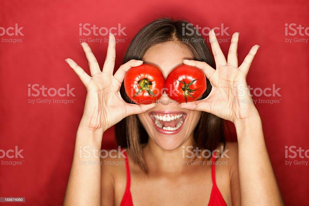 Tomato woman stock photo