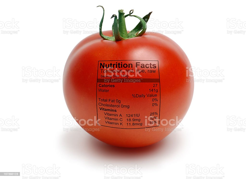 Tomatoe with nutriton facts stock photo