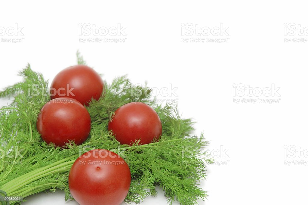 Tomatoes and herbs isolated on the white background royalty-free stock photo