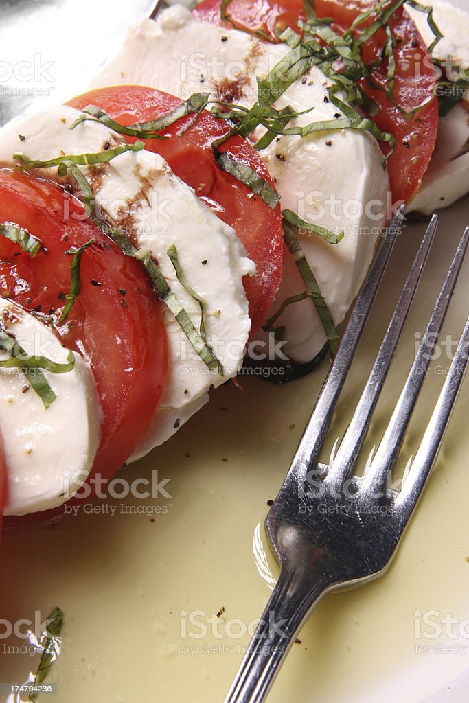 Tomatoes and Mozzarella appetizer close royalty-free stock photo