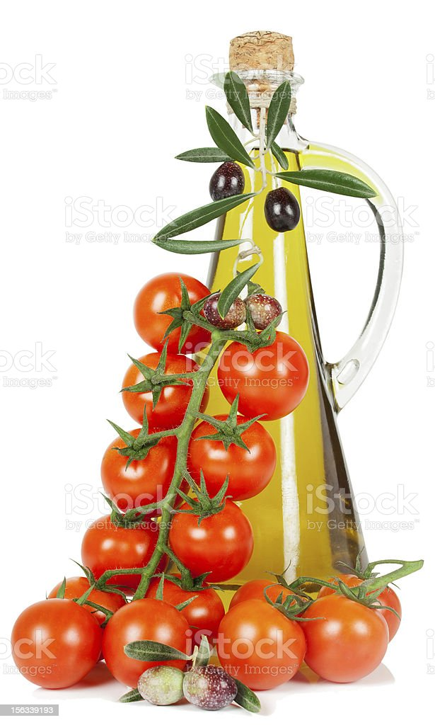 tomatoes and olive oil royalty-free stock photo