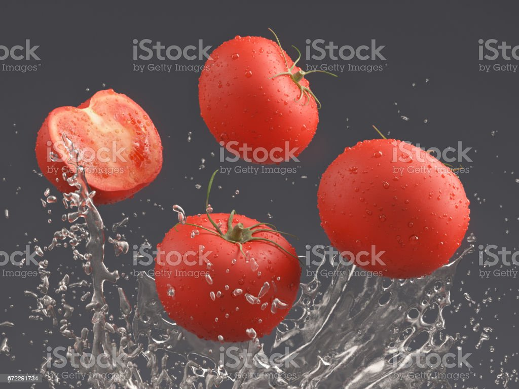 tomatoes and water splash; 3d render