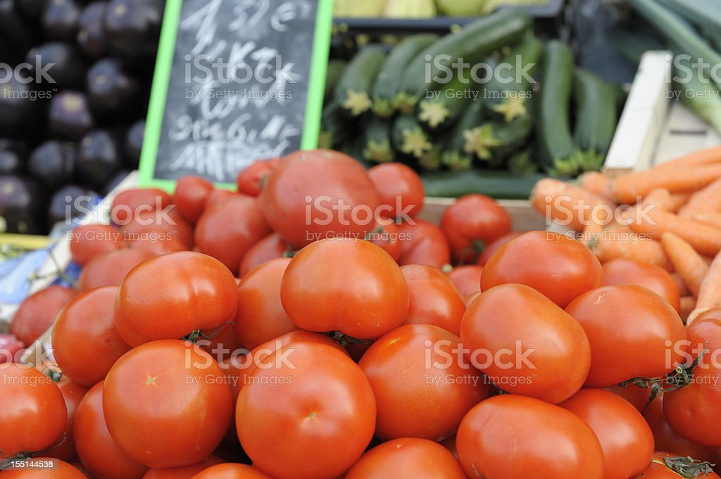 Tomatoes at the market royalty-free stock photo