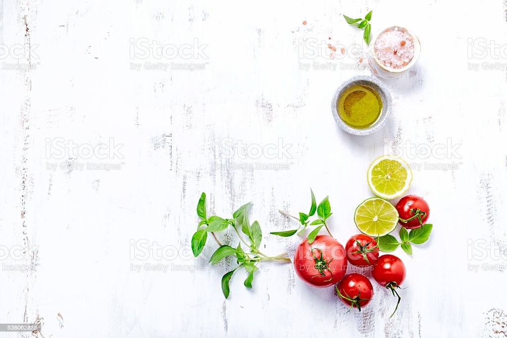 Tomatoes, Basil, Olive Oil and Himalayan Salt stock photo
