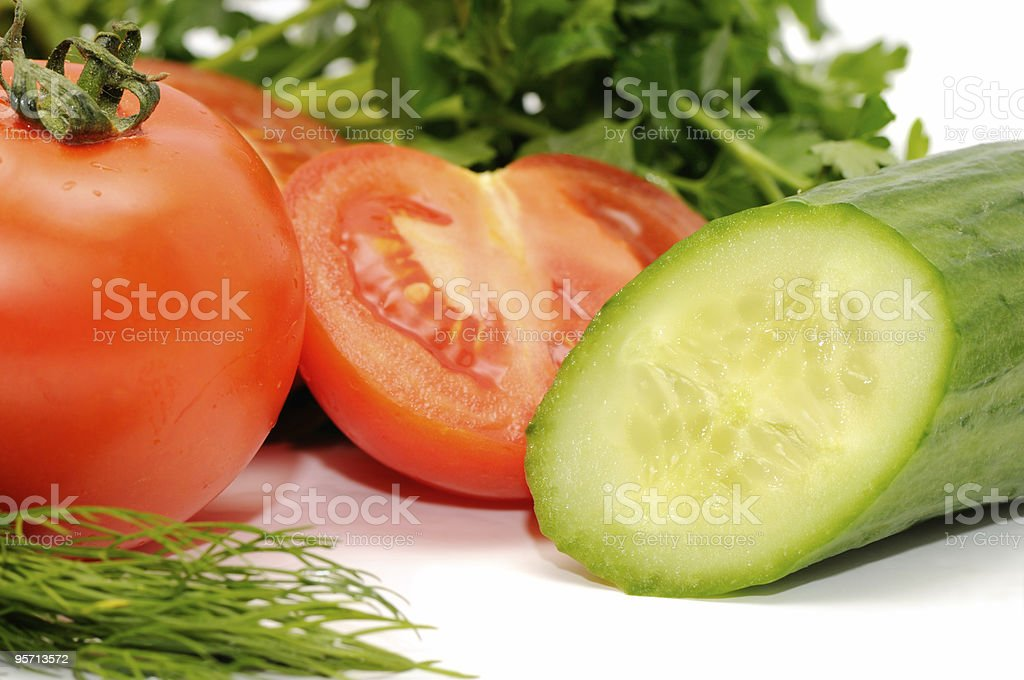 Tomatoes, cucumber and parsley royalty-free stock photo