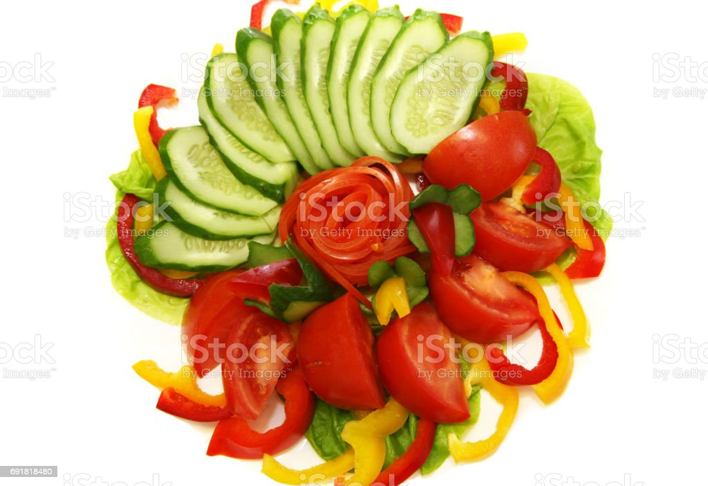Tomatoes, cucumbers and pepper for salad stock photo