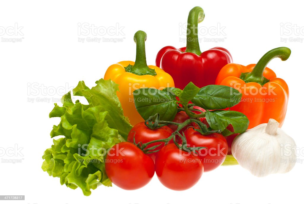 Tomatoes, garlic, lettuce, peppers, basil royalty-free stock photo
