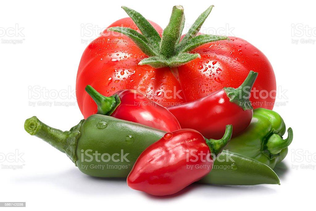 Tomatoes, habaneros, chli as design element stock photo