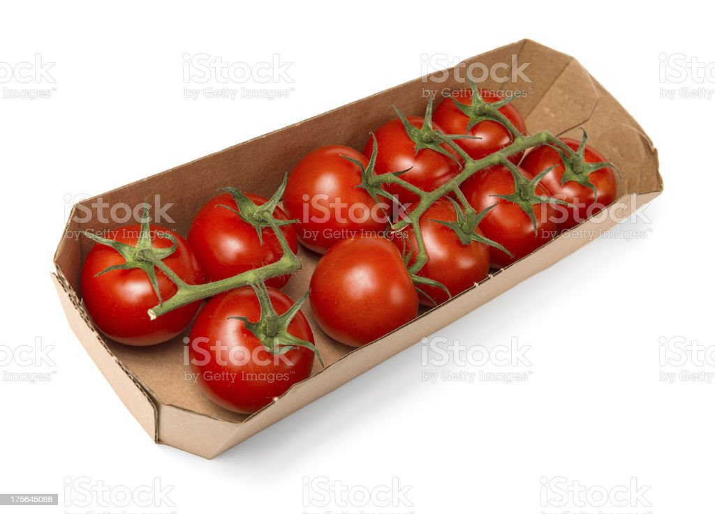 Tomatoes in paper tray royalty-free stock photo