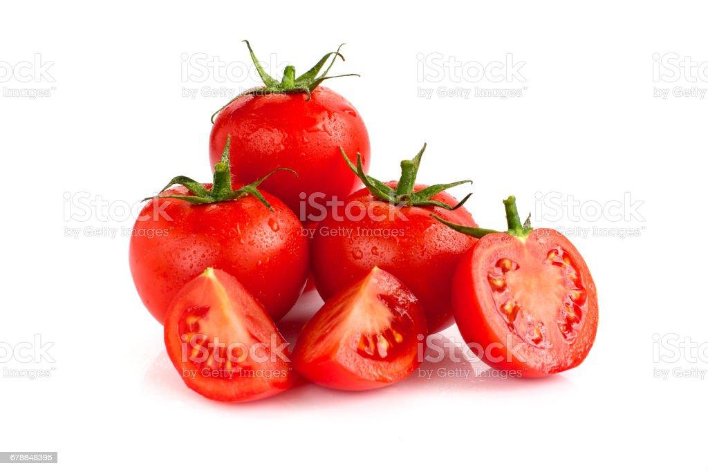 Tomatoes isolated on white background. stock photo