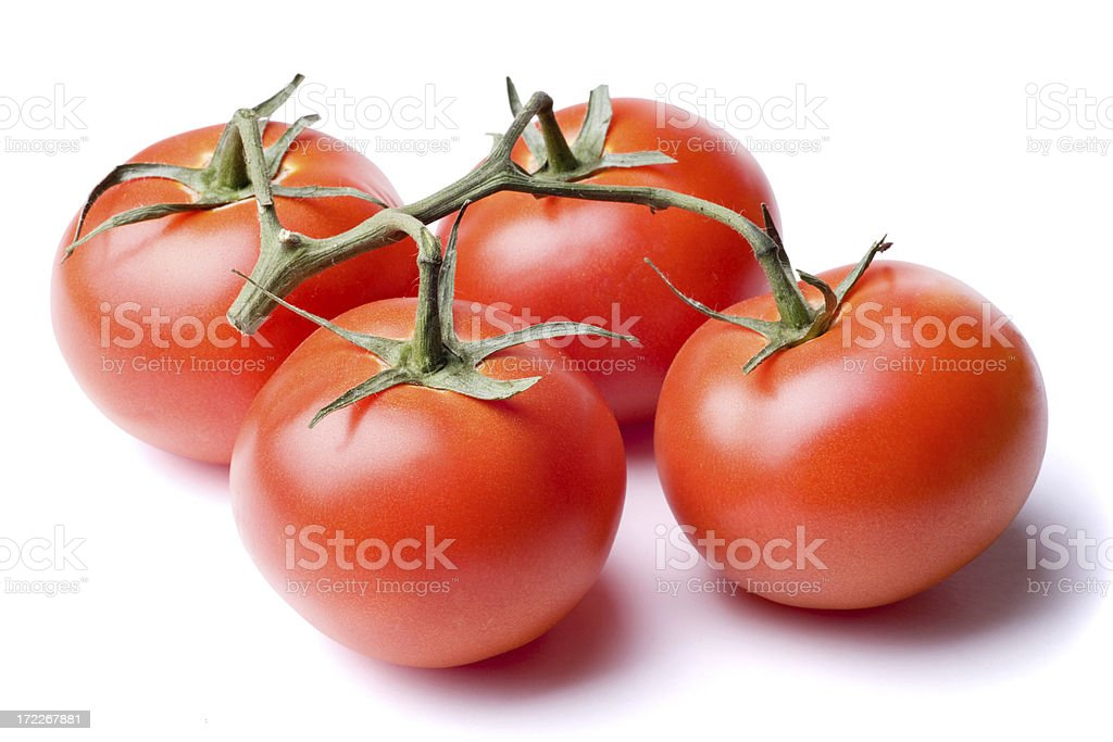 Tomatoes Isolated on White with Clipping Path stock photo