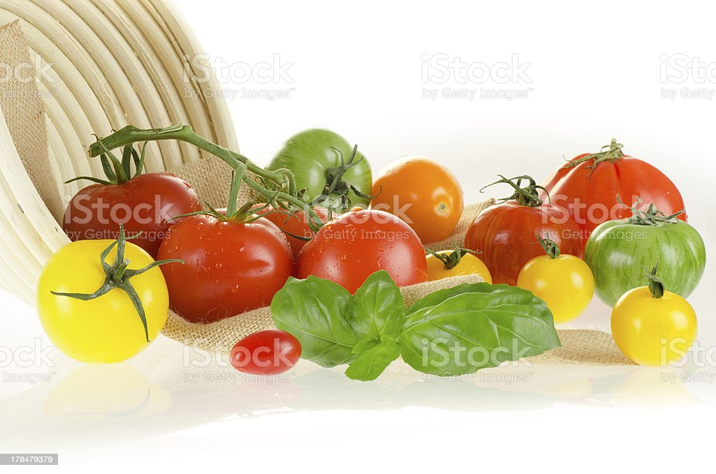 Tomatoes of different colors with basket and sackcloth royalty-free stock photo