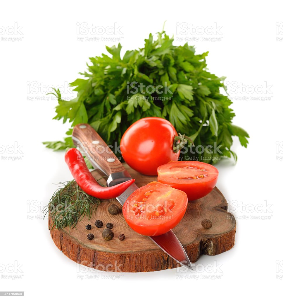 tomatoes on the board royalty-free stock photo