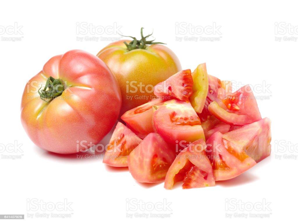 Tomatoes on white background stock photo