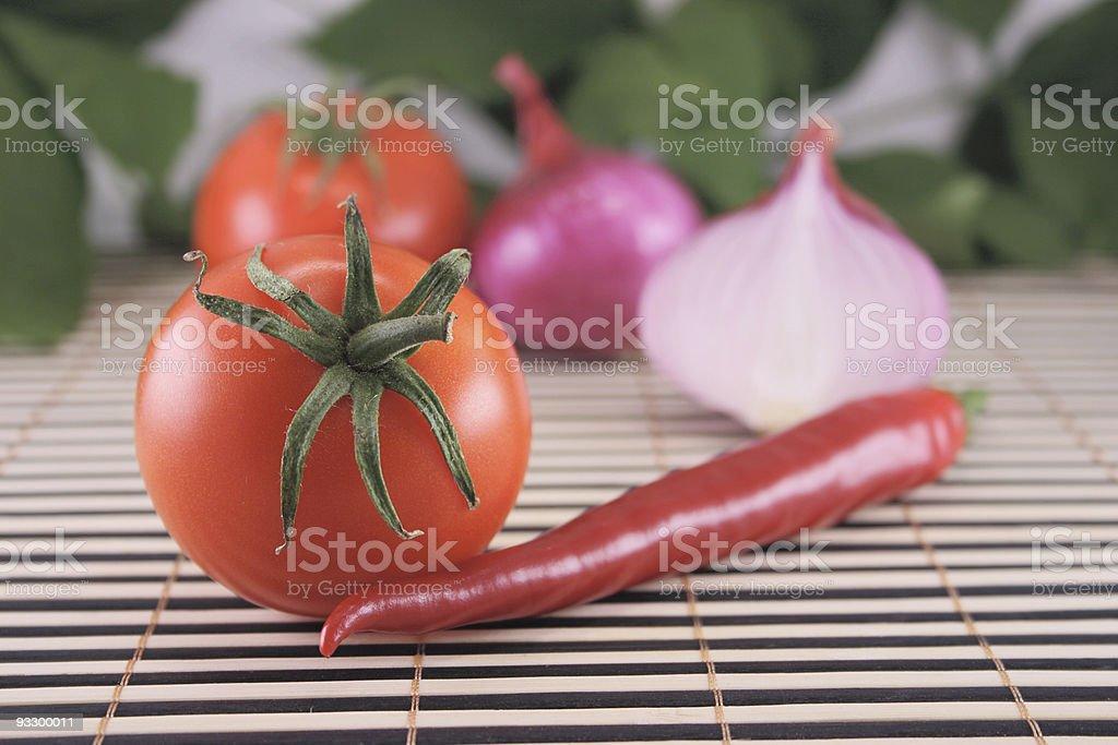 Pomidory, cebula i hot Czerwona papryka zbiór zdjęć royalty-free