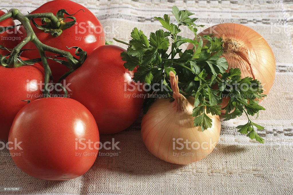 Tomatoes, onions and parsley royalty-free stock photo
