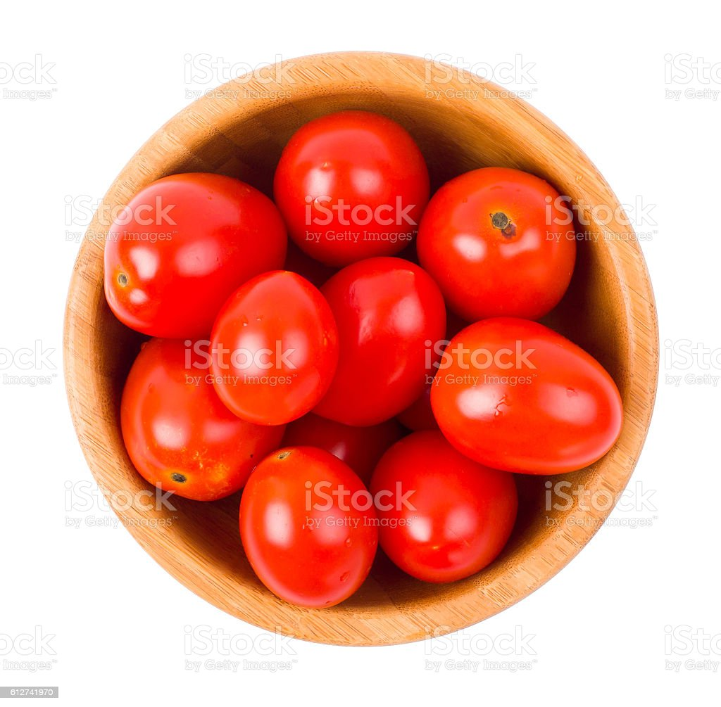 Tomatoes plum shaped in a bowl stock photo