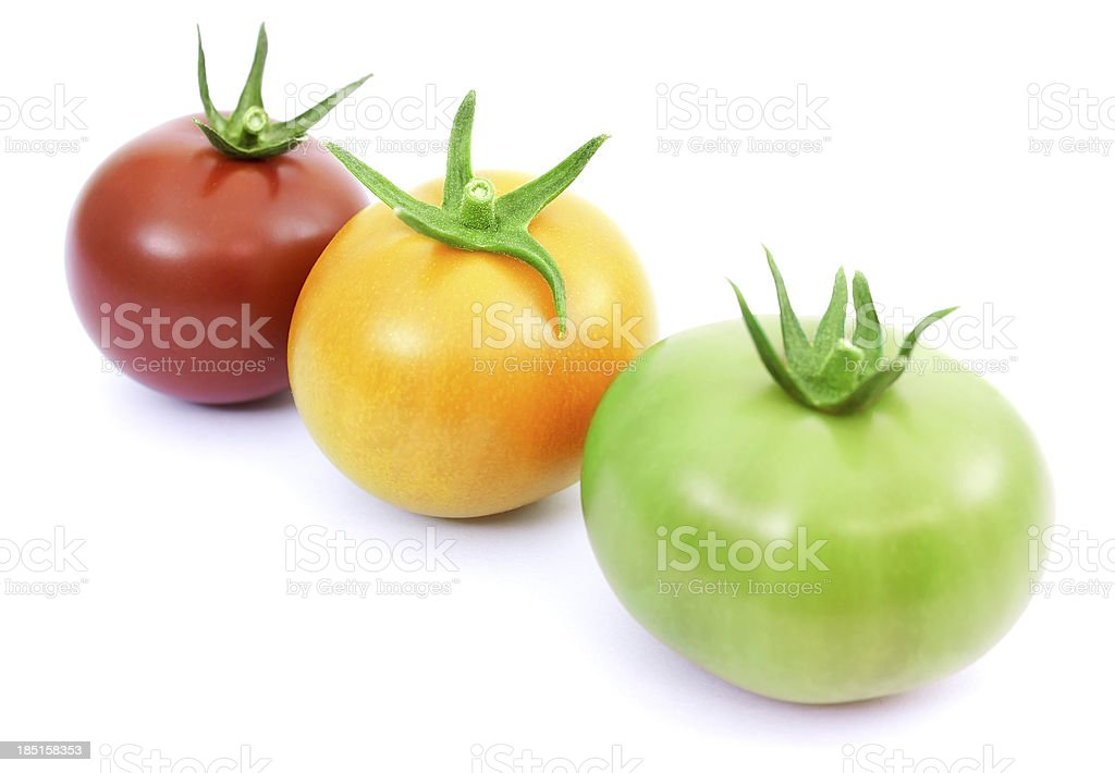 Tomatoes red, yellow and green royalty-free stock photo