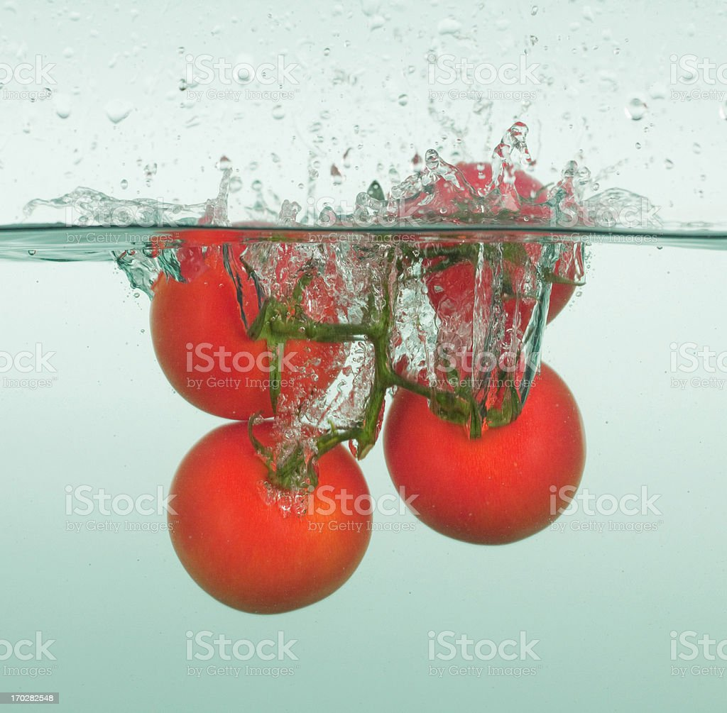 Tomatoes splashing in water royalty-free stock photo