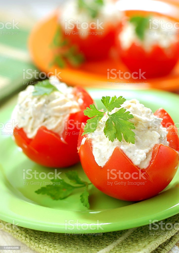 Tomatoes Stuffed with Feta royalty-free stock photo