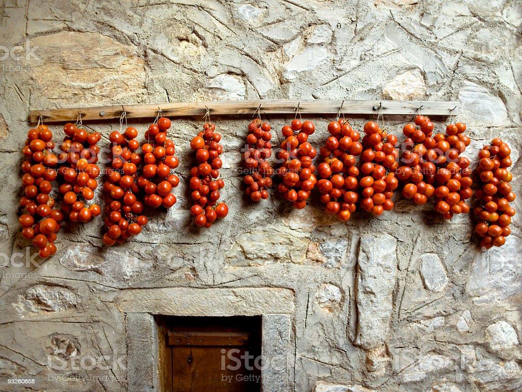 Tomatos drying stock photo
