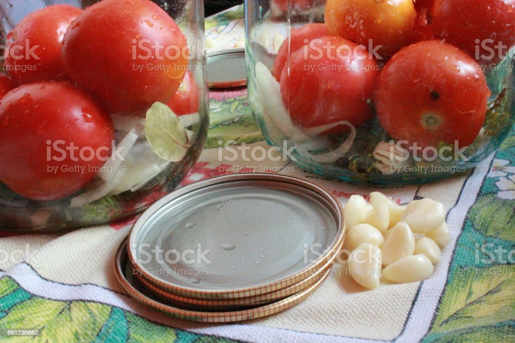 tomatos in jars prepared for preservation stock photo