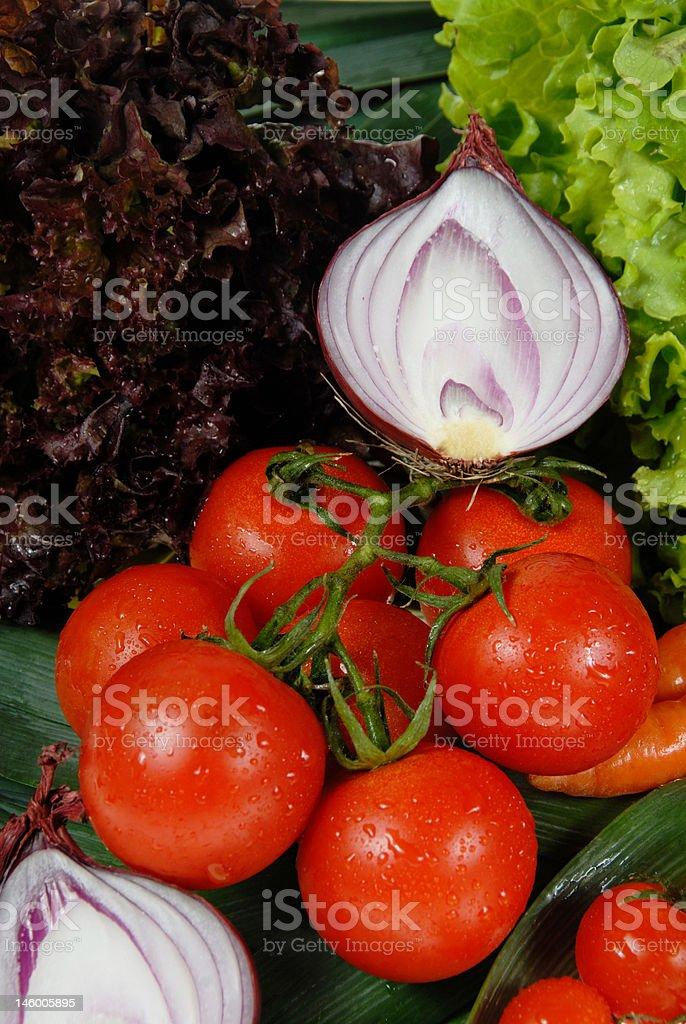 tomatos & onion royalty-free stock photo